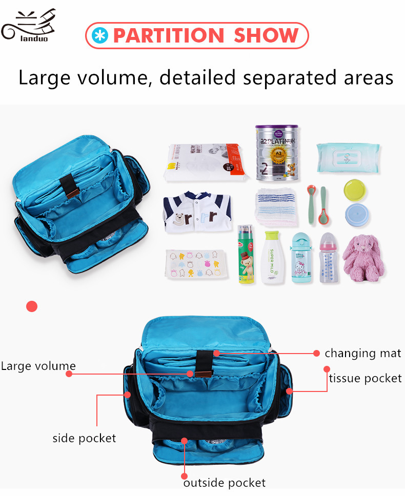 HTB1hc6mp4uTBuNkHFNRq6A9qpXaF Authentic LAND Mommy Diaper Bags Mother Large Capacity Travel Nappy Backpacks with anti-loss zipper Baby Nursing Bags dropship