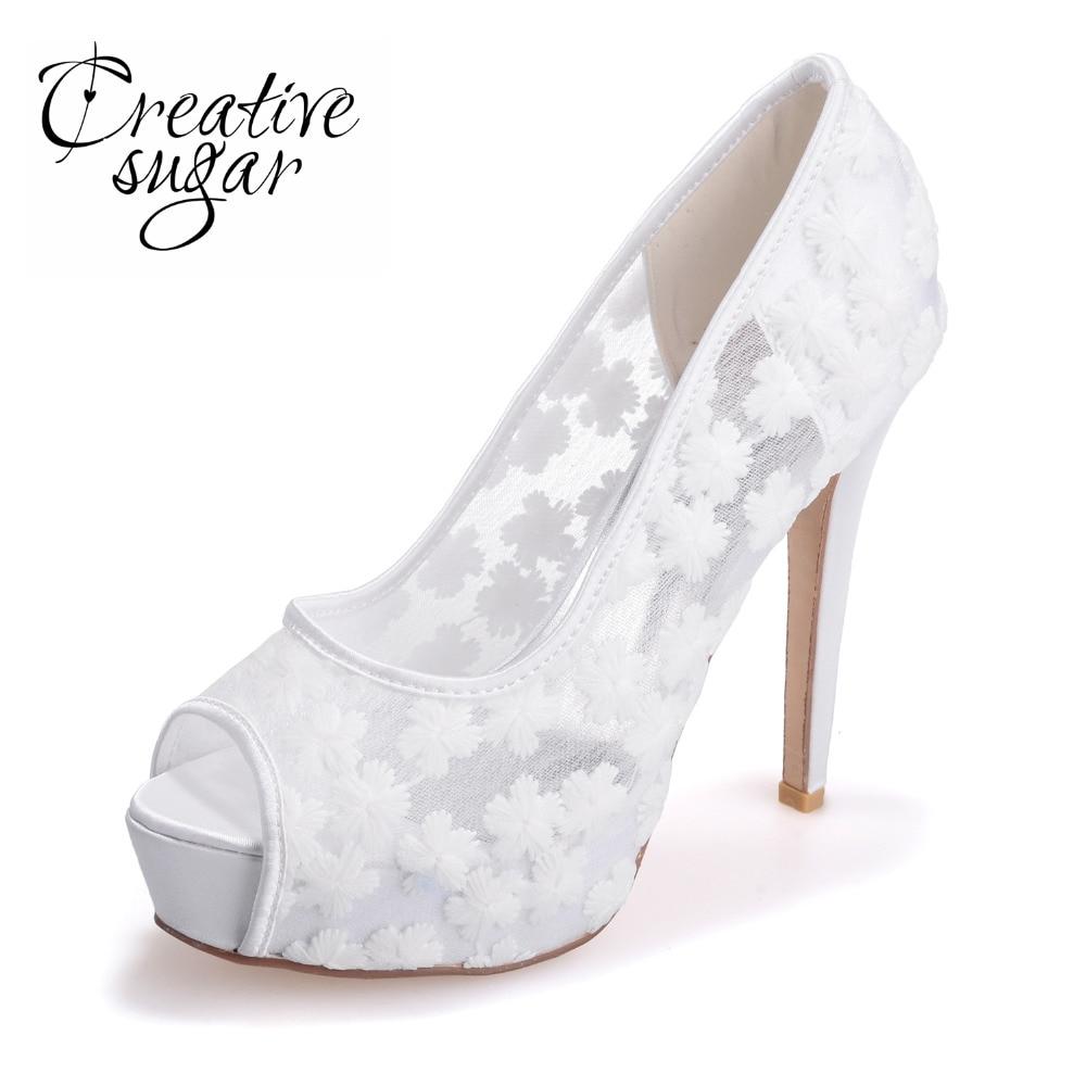 где купить Creativesugar Sexy perspective lace high heel stiletto platform open toe shoes summer pumps see through party wedding prom blue по лучшей цене