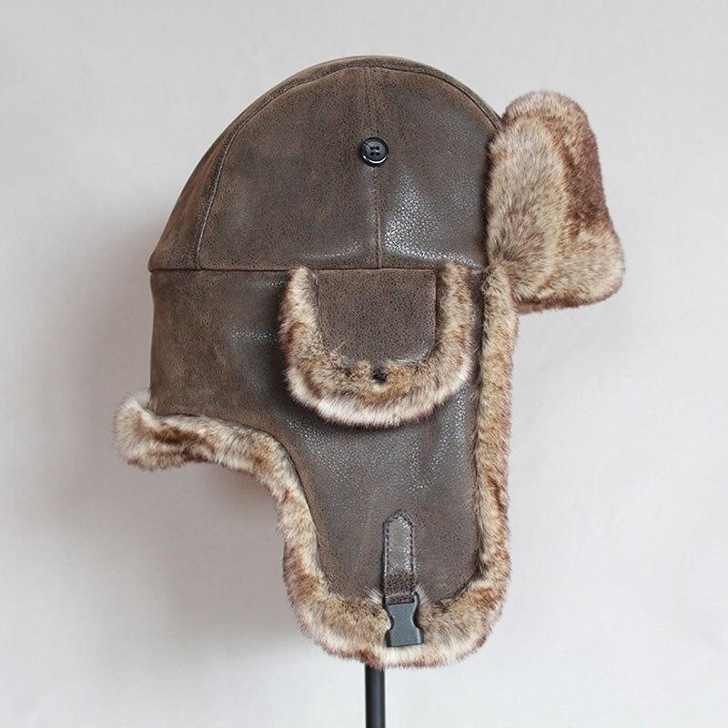 Bomber Hats Winter Men Warm Russian Ushanka Hat with Ear Flap Pu Leather  Fur Trapper Cap  Earflap 3