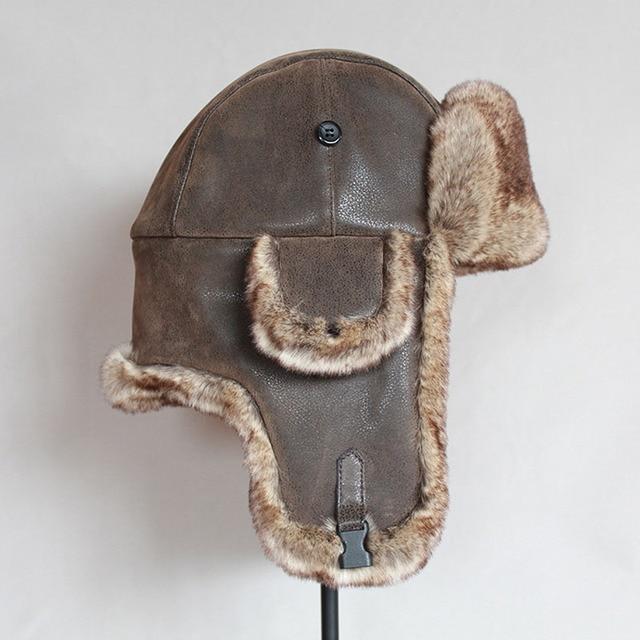 Bomber hats winter men warm russian ushanka hat with ear flap pu leather  fur trapper cap  earflap