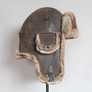 Image 3 - כובעי מפציץ חורף גברים חם רוסית Ushanka כובע עם אוזן דש עור מפוצל פרווה הצייד כובע Earflap