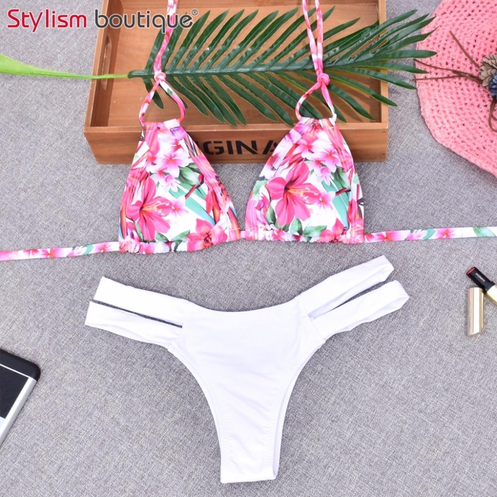 2017 New Bikini Sets Brazilian Women Swimwear Padded Sexy Halter Bandage Double Straps Bathing Suit Floral Leaf Print Swimsuits