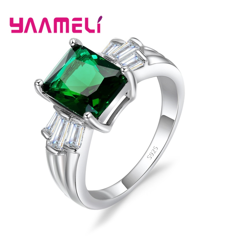 YAAMELI Luxury 925 Sterling Silver Rings for Women Wedding Engagement Acessories Cubic Zirconia Jewelry Big Promotion Two Color