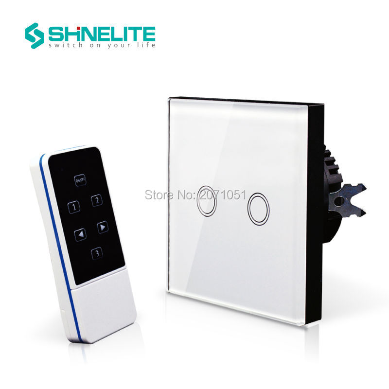 Hot Sale EU Standard 2Gang 1Way Crystal Glass Panel Smart Touch Light Wall Switch Remote Controller RF 433MHz AC110V-2 2016 hot sale touch switch crystal glass panel us au light switch 2 gang 1 way wall switch smart home touch switch