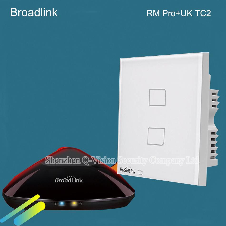 4-UK Standard Broadlink TC2  2 Gang Wireless Remote Control Wifi Wall Light Touch Screen Switch Smart Home 110V-240V RF433  RM PRO