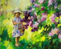 Impression Style Little Girl in the Flowers Wall Painting Home Decor Spring Landscape Handmade Character Painting Art