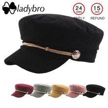 Ladybro PANA sombrero militar del sombrero del casquillo del sombrero de  otoño invierno femenina negro Casquette 3013bcaa4af
