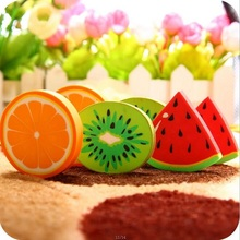 1pcs/pack Cute Fresh Fruit design eraser Kawaii Watermelon Orange Kiwifruit erasers students' gift prize office school supplies