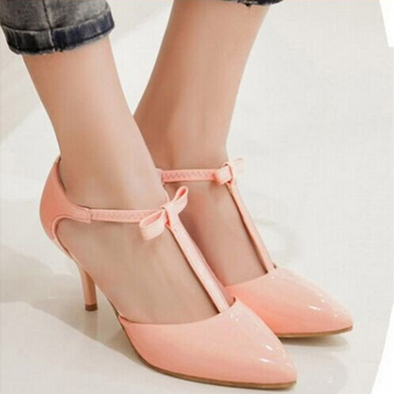 Ladies 2.2 Sexy pointed toe Elastic Band bow Western style high heel sandals shoes women big size shoes(4 to 12)in 4colors ladies western style sexy elegant ankle strap big size 4 to 15 soft suede genuine leather pointed toe shoes green white red