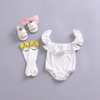 2018 Cotton Infantil Baby Girl Romper White Clothes Newborn Baby Clothes Suit Baptism Ruffles Fly Sleeve