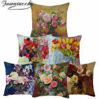 Fuwatacchi Reinem Leinen Kissen Abdeckung Rose Blume Kissen Abdeckung für Home Stuhl Sofa Dekorative Kissen Öl Malerei Blumen Kissen
