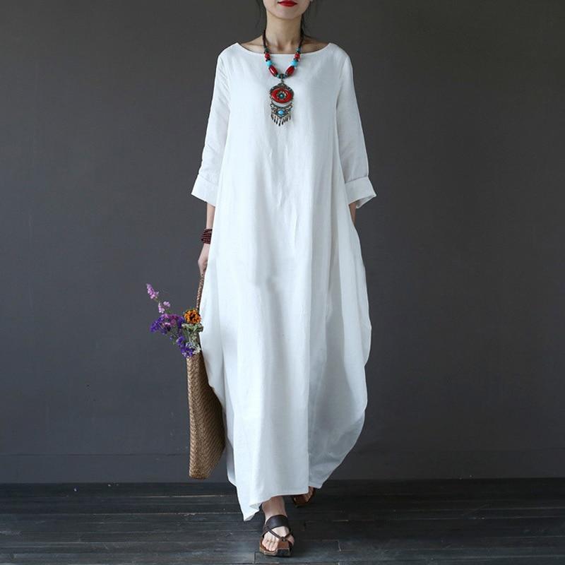 edcd550e43 2018 Summer Plus Size Dresses For Women 3xl 4xl 5xl Loose Cotton Linen  Dress White Boho