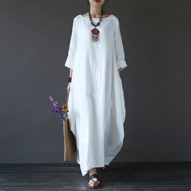 2018 Summer Plus Size Dresses For Women 3xl 4xl 5xl Loose Cotton Linen Dress  White Boho Shirt Dress Long Sleeve Long Maxi Robe 89486930c145
