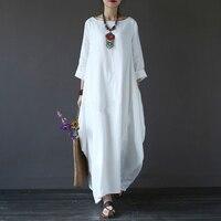Cotton Linen Plus Size Dresses For Women 3xl 4xl 5xl Loose Maxi Dress White Red Blue