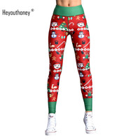 Heyouthoney 2017 Fashion Christmas Hot Sale Red Santa Claus Women Fitness Push Up Stretch Elastic Slim