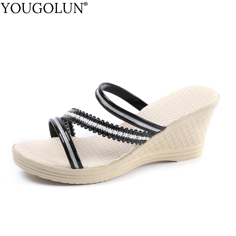 YOUGOLUN Women Wedges Sandals Summer New Woman Casual High Heels 7.5 cm Sexy Ladies Black Gold Pink Platform Party Shoes #A-142 retro embroidery women wedges sandals summer style platform shoes woman casual thick high heels creepers slippers plus size 9