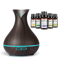 400ml Ultrasonic Air Humidifier Aroma Essential Oil Diffuser With Wood Grain 7 Color Changing LED Lights