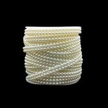 5 jardów pół perły koraliki 4mm dwa rzędy kule Diy artykuły rzemieślnicze dekoracje akcesoria ślubne suknie ślubne biżuteria tanie tanio PR-CS0054 About 4mm Plastic 5 Yards Pack