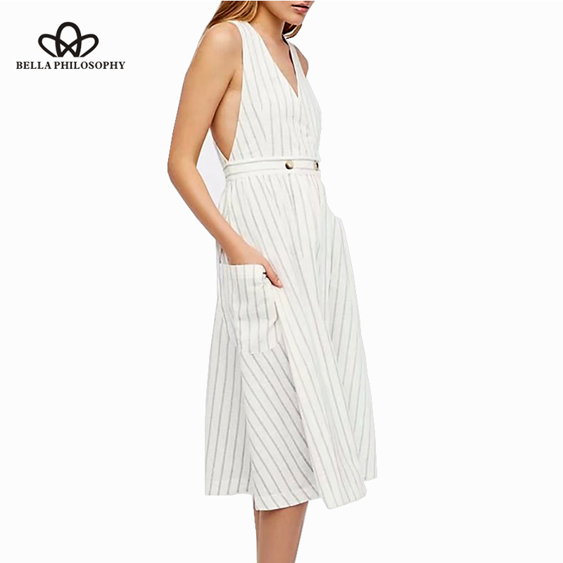 Bella Philosophy Summer Linen Women Dress Striped White Long Cotton Dress Sleeveless Female V Neck Fashion Button Vest Dress