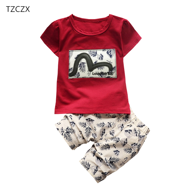TZCZX New Summer Children Baby Boys Sets Fashion Novelty Printed T-Shirt + Pants Suit For 6 Month to 4 Years Old Kids Wear