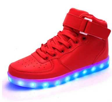 Korean version of men  women light shoes colorful light board shoes fluorescent sports shoes casual  fashion high help led shoes