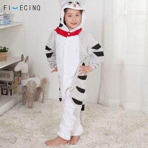 Image 3 - Anime Chi Cát Onesie Cosplay Hoạt Hình Kid Bộ Pyjama Mùa Đông Ấm Áp Mềm Mại Kigurumis Kawaii Trang Phục Cô Bé Homewear Nút Đảng Phù Hợp Với