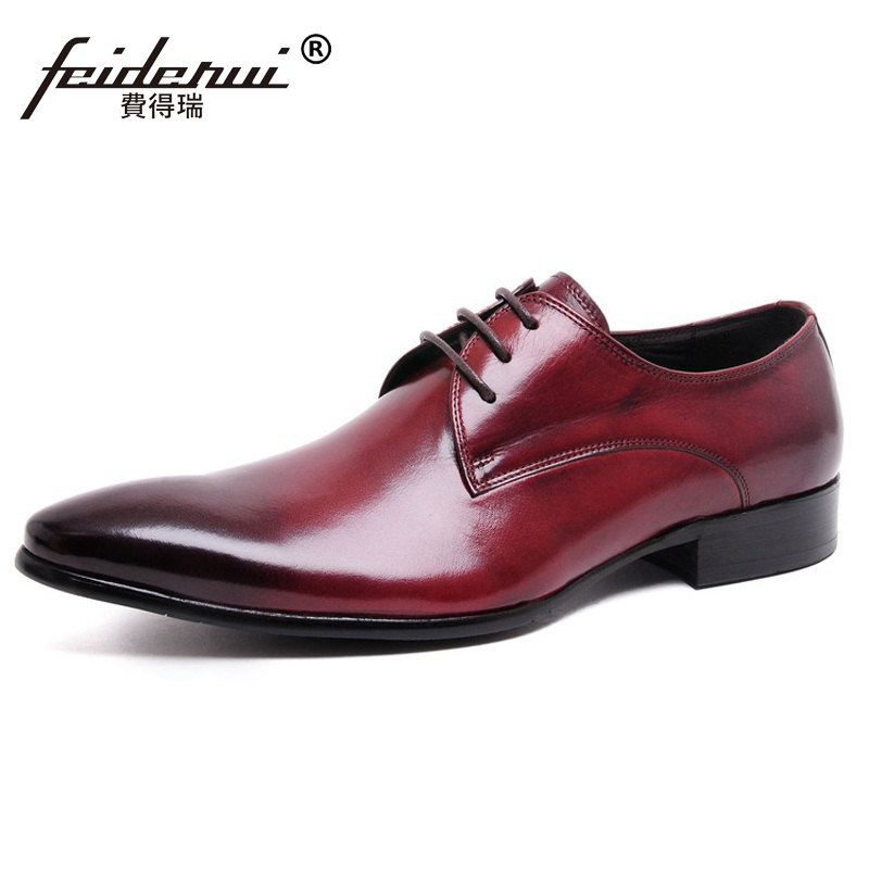 Italian Pointed Toe Derby Man Formal Dress Shoes Genuine Leather Male Wedding Oxfords Luxury Brand Men's Bridal Flats PF32 ruimosi new arrival formal man bridal dress flats shoes genuine leather male oxfords brand round toe derby men s footwear vk94