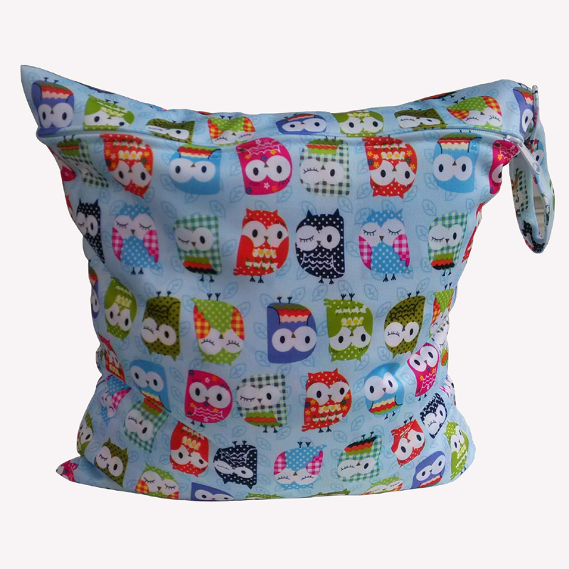Baby Diaper Bags Printed Double Zippered Wet/Dry Bag Waterproof Wet Cloth Diaper Backpack Reusable Diaper Cover