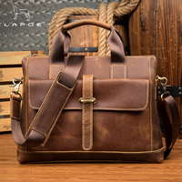 LAPOE Crazy Horse leather Vintage Handbags Business Genuine Leather Men's Briefcase Shoulder Bag Male Brown Fashion Office Bags