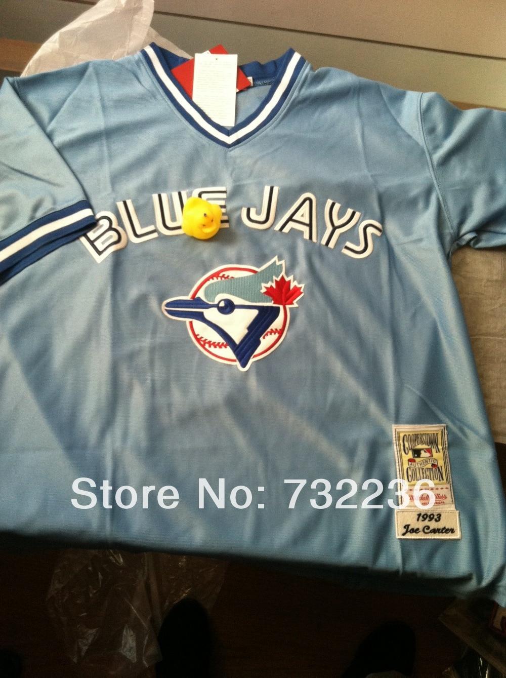 e7edef224 ... Online Shop Buy Discount stitched Toronto Blue Jays 29 Joe Carter blue  throwback retro Baseball Jerseys ...