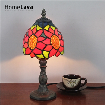 6inch European Pastoral Retro Style Table Lamp Red Sunflower Pattern Lamp  Shade Bedroom Living Room Dining