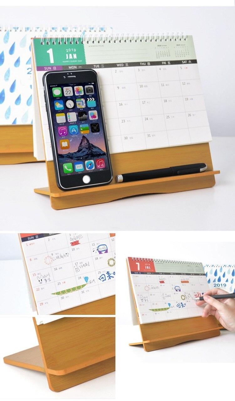 2019 Cute Animal Flower Wooden Calendar Diy Table Desk Calendars Daily Schedule Planner 2018.11~2019.12 Calendars, Planners & Cards