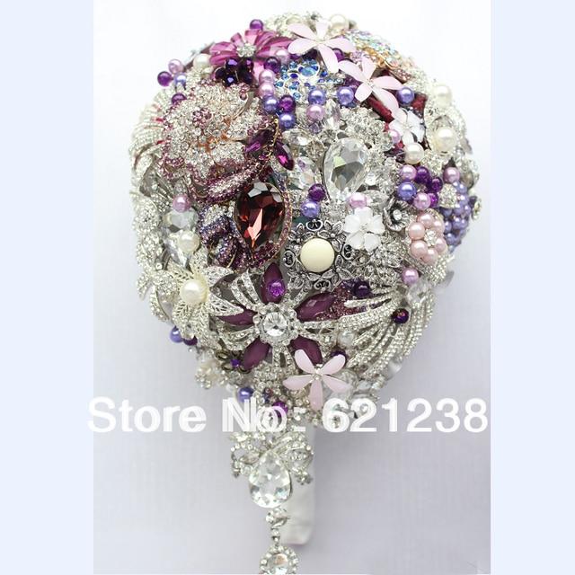 EMS Free Shipping,European popular purple blue brooch beadwork bride hand flowers/Water drop bouquet/Bridal custom bouquets