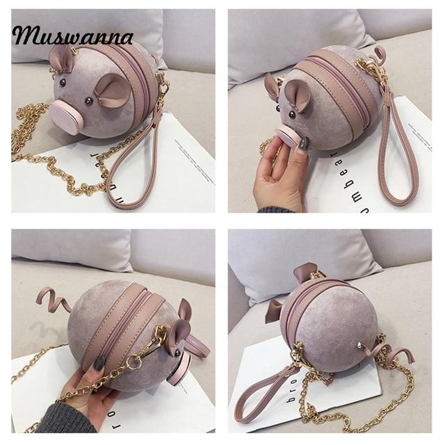 Korean Fashion Suede Women Bag Pig Small Round Bag Chain Female Shoulder Messenger Bag Wrist Bag Party Clutch Coin Purse 2019 5