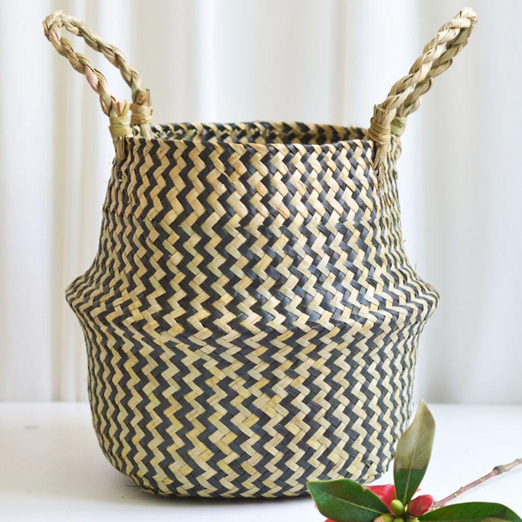 Image 5 - 2019 online star item Household necessities Seagrass Wicker Basket Flower Pot Folding Basket Dirty Basket Storage Decoration-in Flower Pots & Planters from Home & Garden