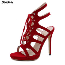 d856b3db3e862d DiJiGirls Fashion Women Sandals Lace Up Hollow High Heel Sandals Women  Platform Sandals Red Heels Woman
