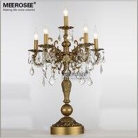 21 дюймов бронзовый цвет старинная настольная лампа Хрустальный Настольный светильник спальня гостиная настольная лампа 6 держатели фонари