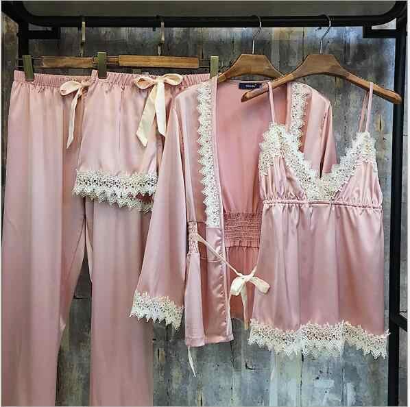 איכות גבוהה 2018 סקסי תחרת פיג 'מות Fdfklak לאביב אישה חליפת לילה משי שנת נשים ערכות הלבשת פיג' מה ללבוש Femme Q953