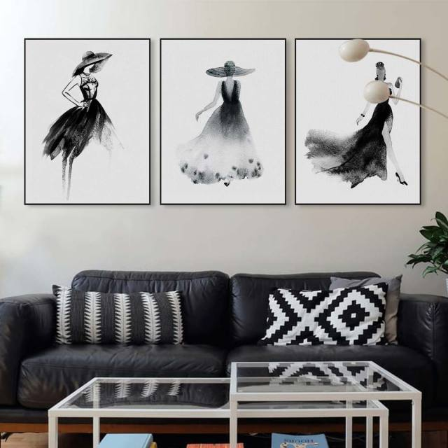 Black white fashion model chinese ink painting modern large canvas art print poster wall pictures beauty