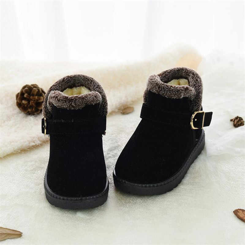 MHYONS Boys Winter Shoes Fashion Kids Snow Boots Size 21-32 Children Warm Thick Fur Ankle Snow Boots Toddler Girl Boots
