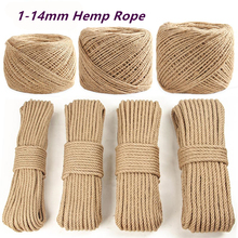 1-14mm High Quality Natural Hemp Rope DIY Handmade Craft Home Decoration Cords Retro Jute Twine for Gift Packing Bags Tag Supply