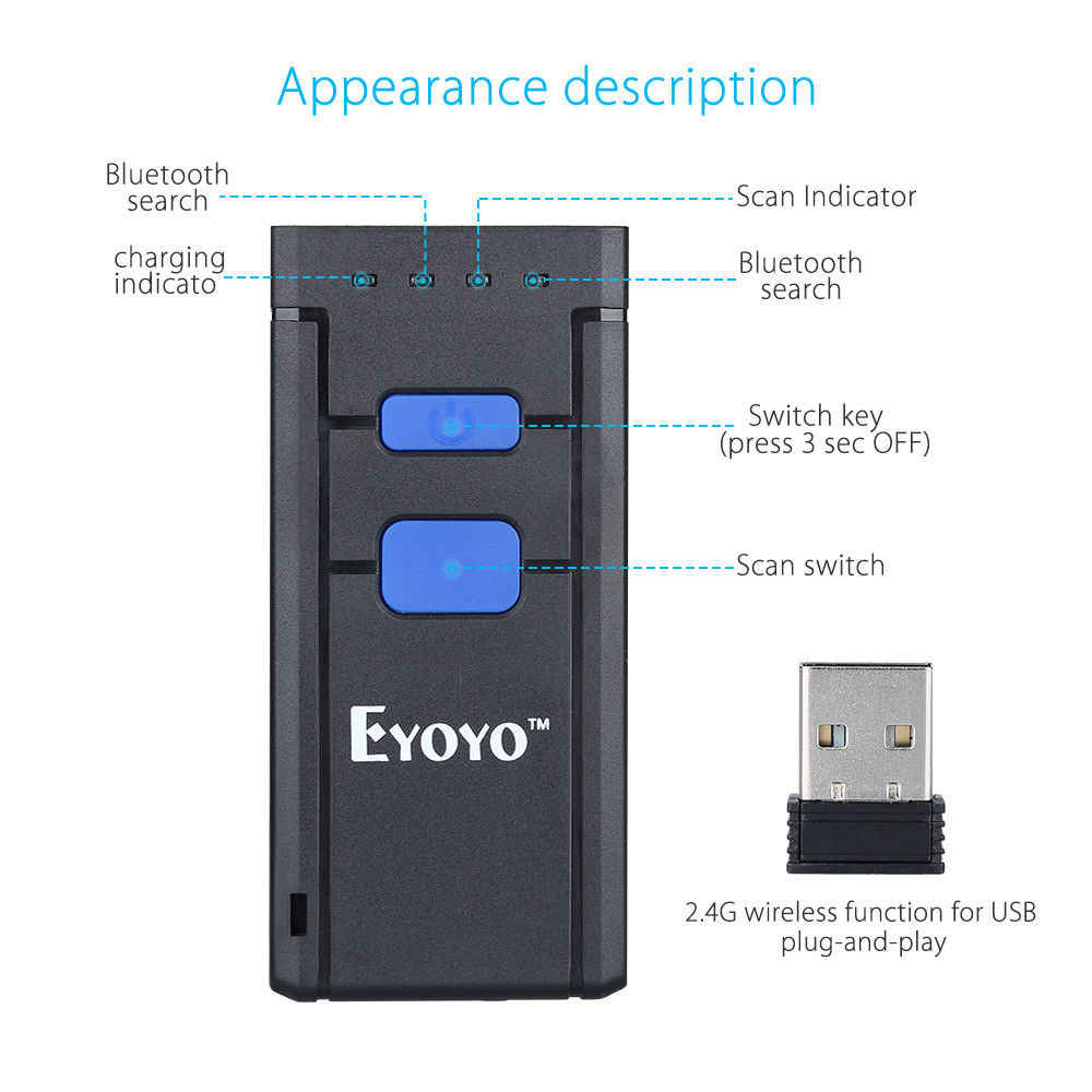 EYOYO MJ2877 Pocket Wireless Laser Bluetooth Barcode Scanner 1D for IOS  Android Mobile Phone Tablets Windows PC Bar Code Reader