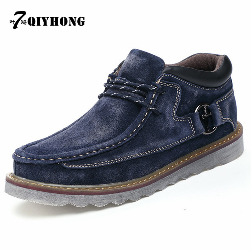 QIYHONG Big Size 38-45 Men Snow Boots Lace Up Cow Suede Winter Plush Mens Boots Genuine Leather Luxury Male Warm Ankle Botas club lace up genuine leather men boots snow winter warm plush causal flats shoes mens waterproof ankle boots plus size 37 47