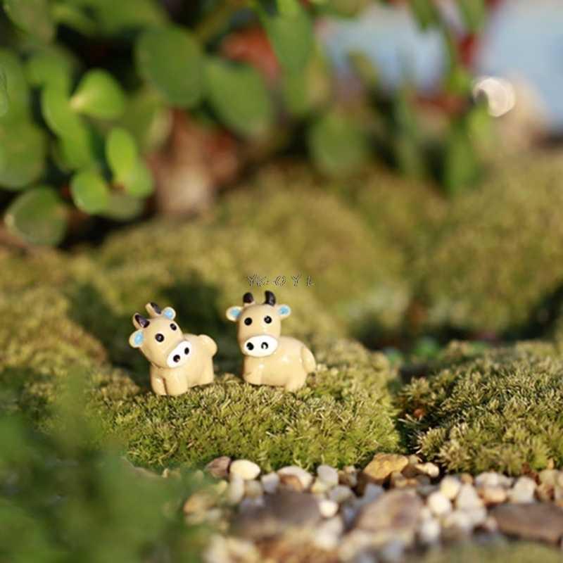 الجنية حديقة مصغرة البقر الحيوان تمثال الحرفية المشهد الصغير حلية ديكور