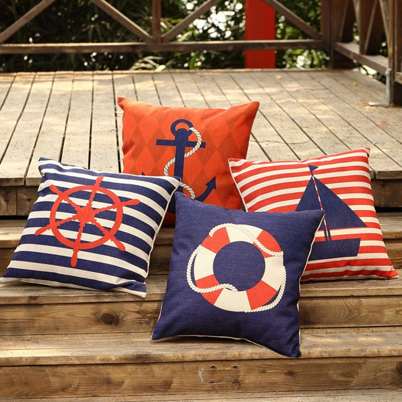 Sailing Boat Anchor Cushion Covers Cotton Linen Life Buoy Navy Blue Red Strips Birtish Pillow Case Home Decoration Sofa Car Seat