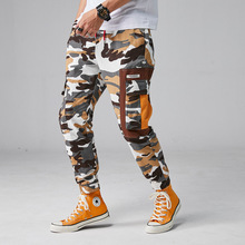 2019 Men Hip Streetwear Mens Camouflage Joggers Pants Cotton Cargo Pant Elastic Waist Harem Taktik Pantolon Casual