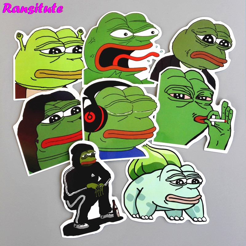R144 8 יח'\סט עצוב צפרדע מצחיק ילדים של צעצוע מדבקות DIY מחשב נייד מטען סקייטבורד אופנוע טלפון נייד עמיד למים מדבקות