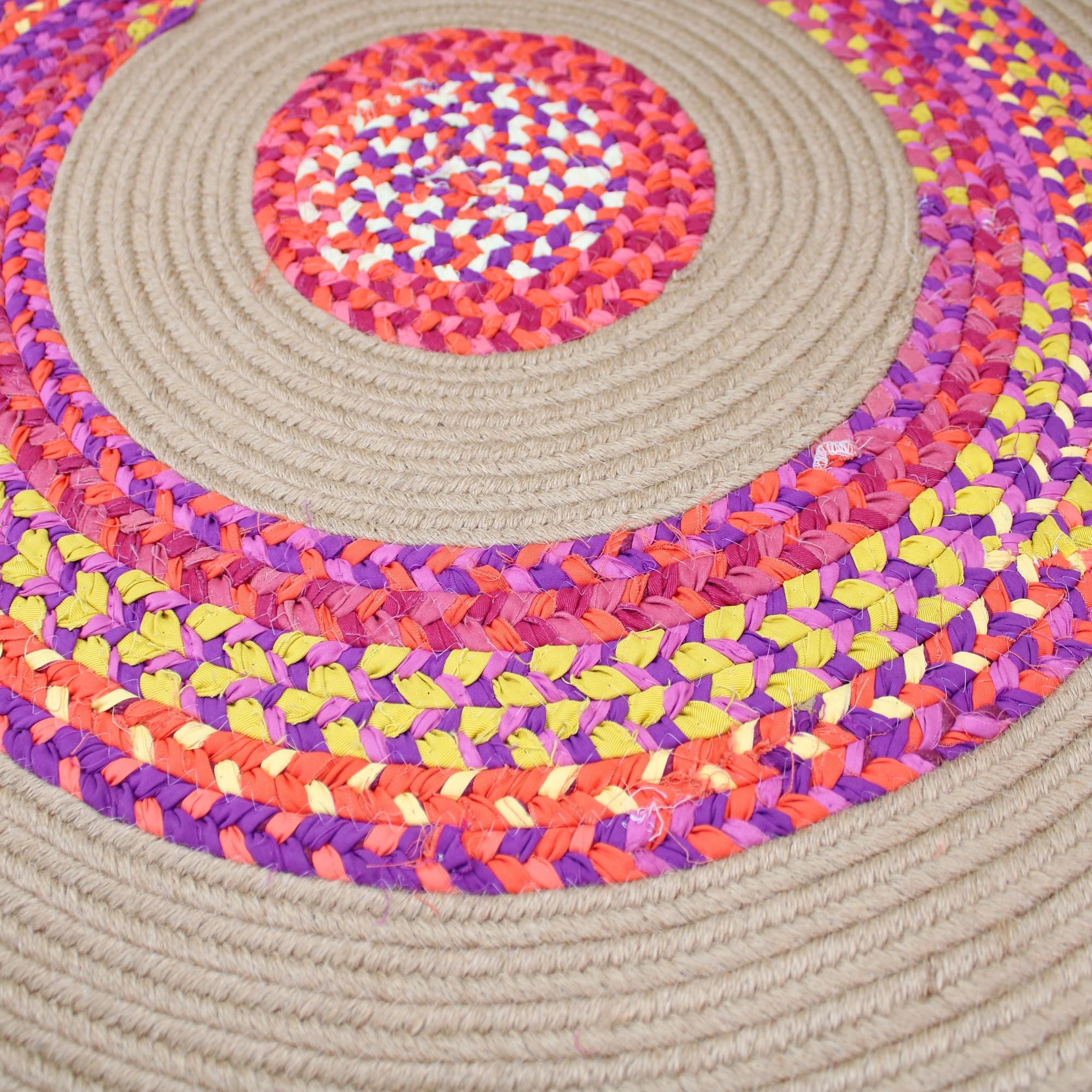 Jute & Cotton Multi Chindi Braid Rug Hand Woven Reversible Round Carpet Handmade Braided Cotton Round Area Rug for Living Room - 3