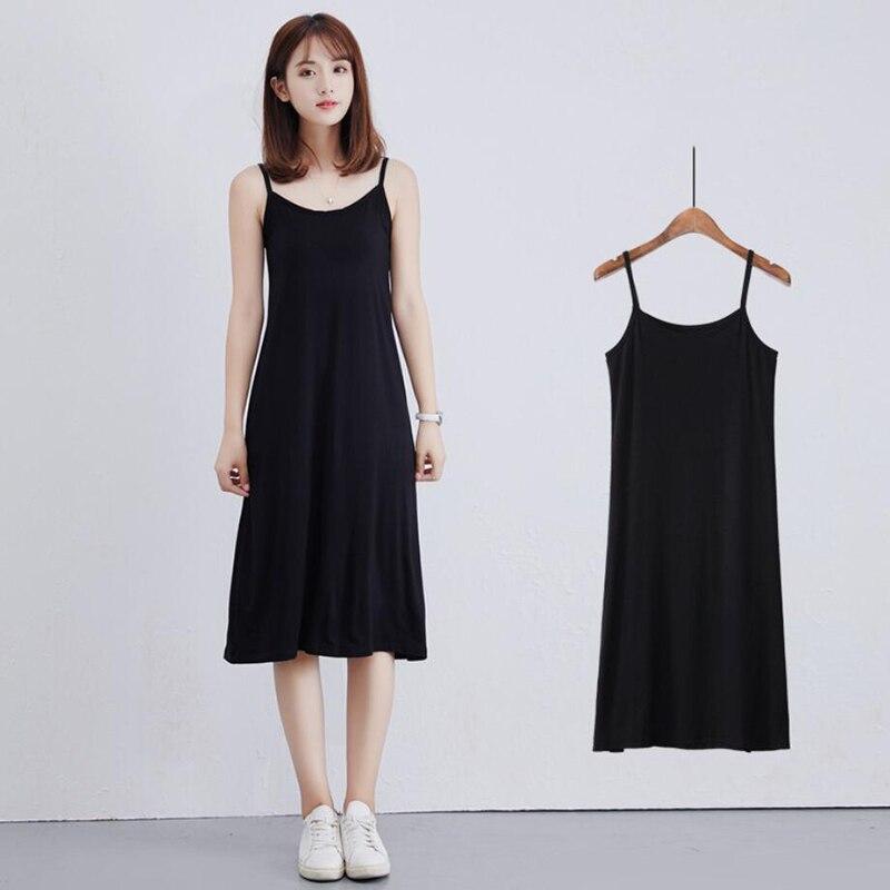 Modal bottoming skirt with lining skirt long loose sleeveless vest skirt female wild dress free shipping in Dresses from Women 39 s Clothing