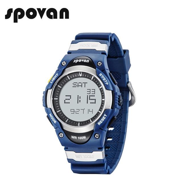 SPOVAN גברים דיגיטלי ספורט שעון אופנה 100M עמיד למים חיצוני אלקטרוני מעורר סטופר שעונים לילדים ילד מתנות SW01